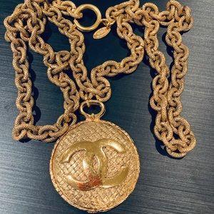 Vintage Gold Tone CC Logo Mirror Pendant Necklace